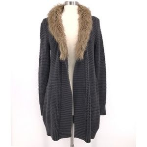 Old Navy Faux Fur Collar Long Cardigan